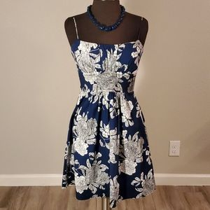 B. DARLIN Spaghetti Strap Blue/White Floral Dress